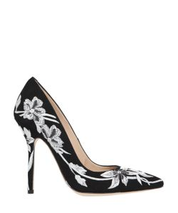 RACINE CARRÉE | 110mm Floral Embroidered Suede Pumps