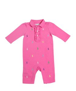 RALPH LAUREN CHILDRENSWEAR | Logo Embroidered Cotton Interlock Romper