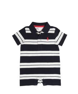 RALPH LAUREN CHILDRENSWEAR | Striped Cotton Piqué Polo Romper