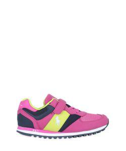 RALPH LAUREN CHILDRENSWEAR | Cotton Faux Leather Running Sneakers