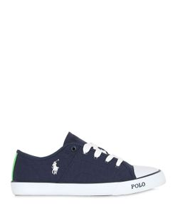 RALPH LAUREN CHILDRENSWEAR | Logo Embroidered Cotton Canvas Sneakers
