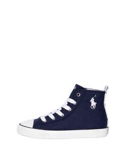 RALPH LAUREN CHILDRENSWEAR | Logo Cotton Canvas High Top Sneakers
