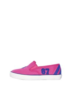 RALPH LAUREN CHILDRENSWEAR | Logo Cotton Canvas Slip-On Sneakers