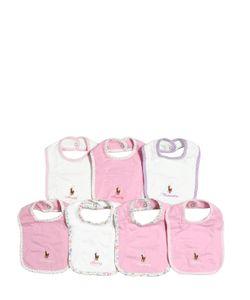 RALPH LAUREN CHILDRENSWEAR | Set Of 7 Doubled Cotton Jersey Bibs
