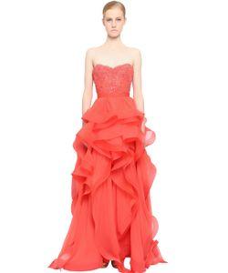 Reem Acra | Embellished Lace Silk Chiffon Dress