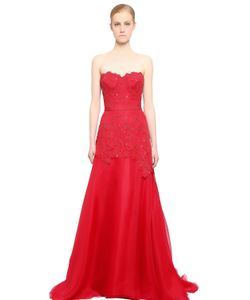 Reem Acra | Embroide Lace Silk Organza Dress