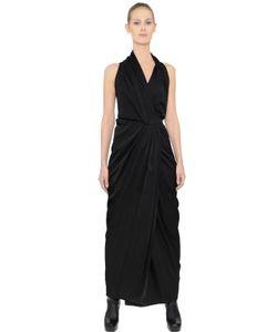 Rick Owens   Limo Shiny Viscose Crepe Wrap Dress