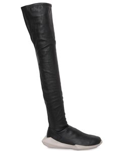 RICK OWENS BY ADIDAS | 30mm Stealth Stretch Leather Boots