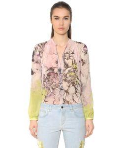 Roberto Cavalli | Floral Print Silk Georgette Lace Shirt