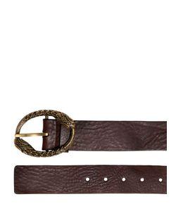 Roberto Cavalli | Oiled Leather Belt W/ Snake Buckle