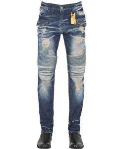 Robin'S Jean | 17cm Distressed Washed Biker Denim Jeans