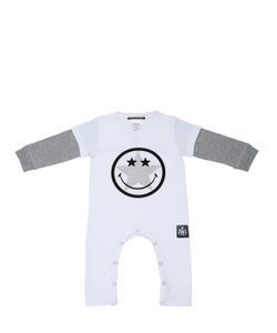 ROCK STAR BABY | Smile Printed Cotton Jersey Romper