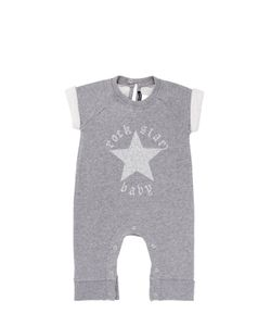 ROCK STAR BABY | Glittered Light Cotton Fleece Romper