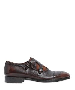 Rolando Sturlini | Washed Leather Suede Monk Strap Shoes