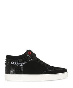 ROYAUMS | Studded Suede Python Mid Top Sneakers