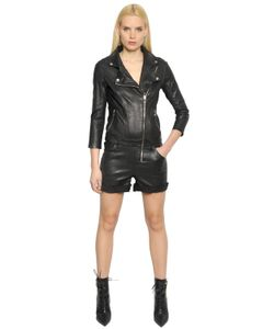 RTA | Stretch Leather Biker Jumpsuit