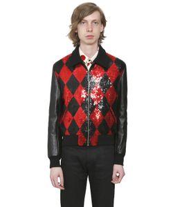 Saint Laurent | Sequined Wool Leather Teddy Jacket