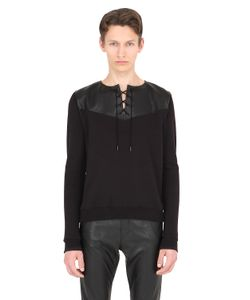 Saint Laurent | Leather Cotton Sweatshirt