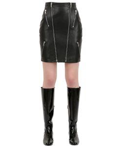 Saint Laurent | Zipped Nappa Leather Mini Skirt