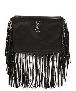 Saint Laurent | Monogram Studded Fringed Leather Pouch