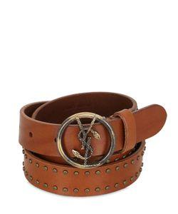 Saint Laurent   25mm Serpent Studded Leather Belt