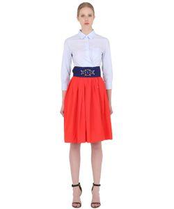 SARA ROKA | Cotton Shirt Dress With Taffeta Skirt