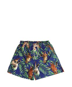 SELINI ACTION | Giraffe Printed Nylon Swim Shorts