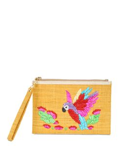 Serpui Marie | Macaw Embroidered Straw Pouch