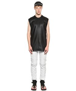 SKINGRAFT | Nappa Leather Cotton Mesh T-Shirt