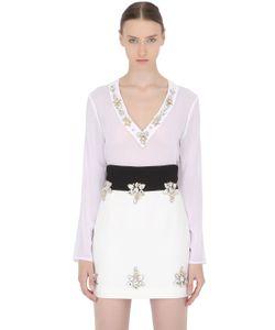 STEFANO DE LELLIS | Embellished Sheer Crepe Shirt