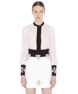 STEFANO DE LELLIS | Embellished Cuffs Two Tone Crepe Shirt