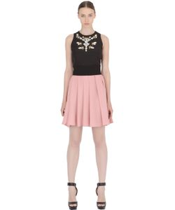 STEFANO DE LELLIS | Two Tone Embellished Pleated Crepe Dress