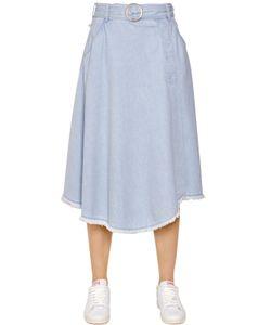 Steve J & Yoni P   Belted Denim Midi Skirt