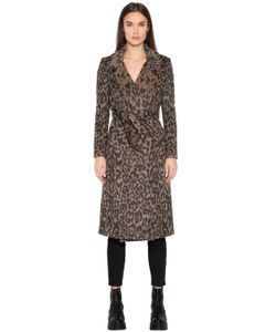 TAGLIATORE 0205 | Leopard Printed Brushed Wool Blend Coat