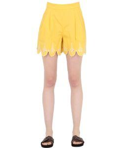 Temperley London | Embroidered Cotton Poplin Shorts