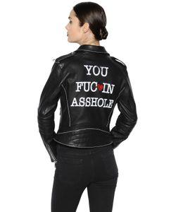 THE LOVERS CLUB | You Fucin Asshole Leather Biker Jacket