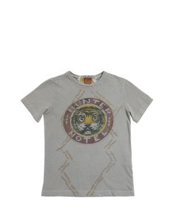 THE RAJ OF INDIA | Tiger Printed Faded Cotton T-Shirt