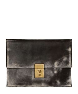 Thom Browne | Vintage Effect Folded Leather Pouch