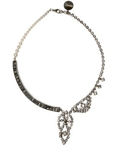 Tom Binns   Crystal And Pearl Metal Plaque Necklace