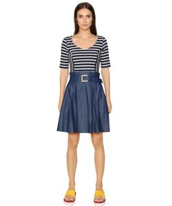 TOMMY HILFIGER COLLECTION | Striped Knit Cotton Denim Dress