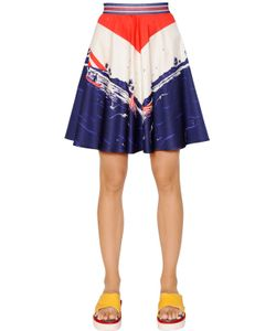 TOMMY HILFIGER COLLECTION | Printed Cotton Satin Skirt