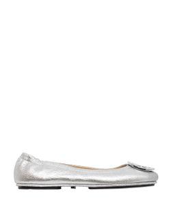 Tory Burch | Minnie Logo Metallic Leather Ballerinas