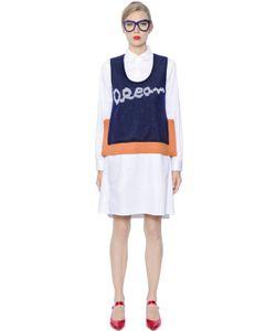Tsumori Chisato   Cotton Satin Dress With Sweater Vest