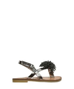 TWO CON ME BY PÈPÈ | Pompom Metallic Leather Sandals