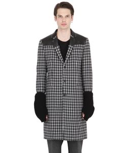 VAR CITY | Wool Jacquard Coat With Knit Sleeves