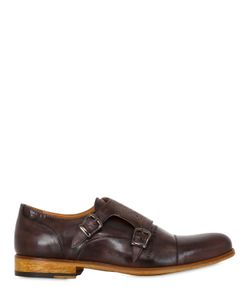 VE.NI. SHOES | Washed Leather Brogue Monk Strap Shoes