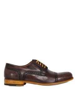 VE.NI. SHOES | Washed Leather Brogue Derby Shoes
