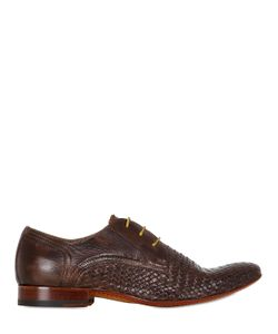 VE.NI. SHOES | Woven Washed Leather Derby Shoes
