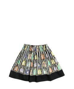 Venera Arapu | Animal Printed Cotton Satin Round Skirt