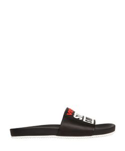 Vision Street Wear | Logo Patch Leather Slide Sandals